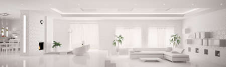White home interior of modern apartment living room kitchen panorama 3d render photo