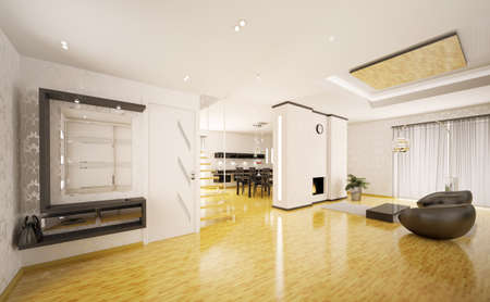 Interior of modern apartment living room kitchen hall 3d render Stock Photo - 9092109