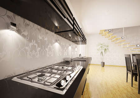 Interior of kitchen with modern gas stove 3d render photo