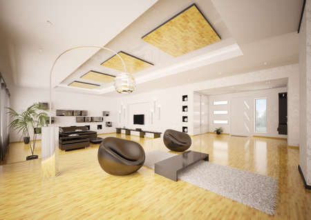 Home inter of modern apartment living room hall 3d render Stock Photo - 9092113