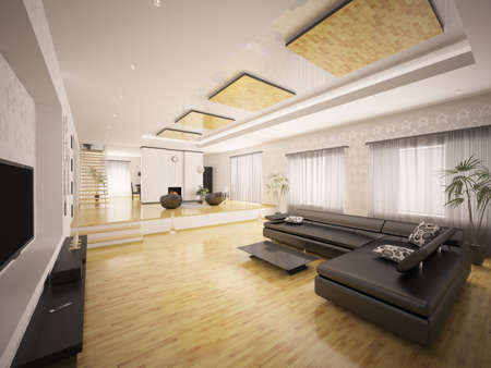 Interior of modern apartment with staircase and fireplace 3d render photo