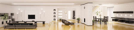 Interior of modern apartment living room kitchen hall panorama 3d render photo
