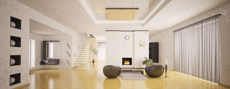 panoramic windows: Interior of modern apartment living room hall panorama 3d render Stock Photo