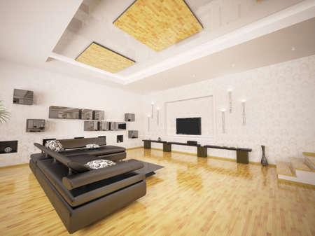 Home interior of modern living room 3d render Stock Photo - 9092116