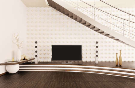 Interior of modern living room with home cinema 3d render photo