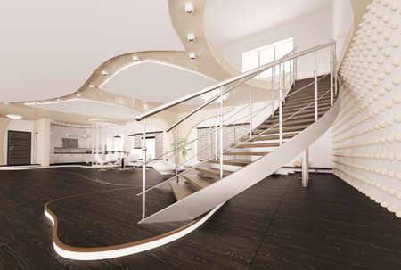 Interior moderno de salón con procesamiento 3d de escalera