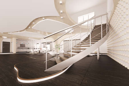 banister: Modern interior of living room with staircase 3d render