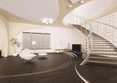 Modern interior of living room with staircase 3d render photo