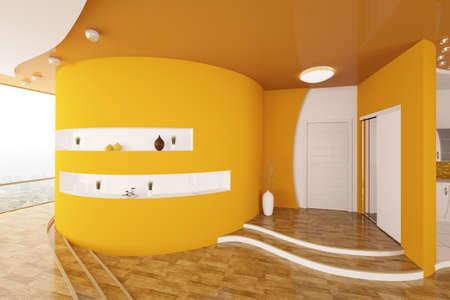 Modern inter design of orange entrance hall 3d render Stock Photo - 9316357