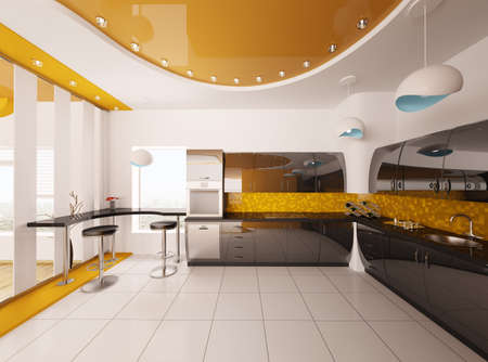 Interior design of modern orange black kitchen 3d render Stock Photo