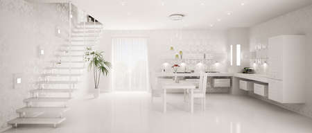 Interior design of modern white kitchen panorama 3d render photo