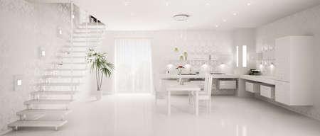 Interior design of modern white kitchen panorama 3d render Stock Photo - 9316358