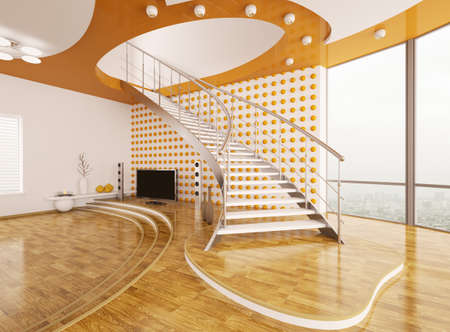 Modern interior design of living room with staircase 3d render photo