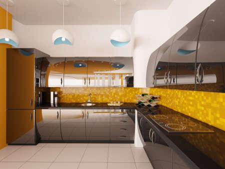 fridge lamp: Interior design of modern black kitchen 3d render