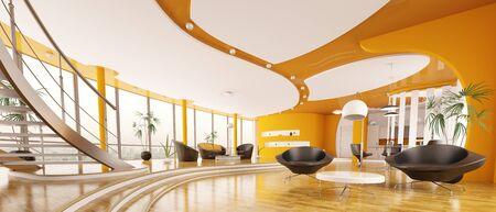 Interior design of modern apartment living room hall panorama 3d render
