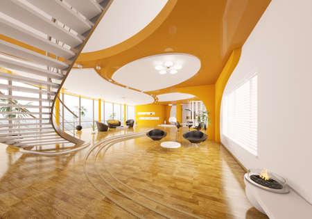 Interior design of modern apartment living room hall 3d render Stock Photo - 9348007