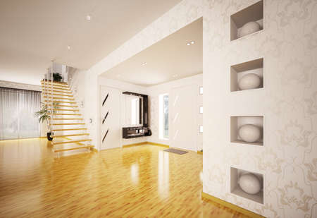 Modern interiordesign of hall with staircase 3d render