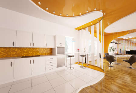 Interior design of modern white orange kitchen 3d render photo