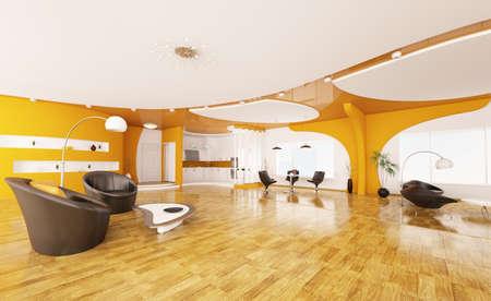 Interior design of modern apartment living room hall kitchen 3d render Stock Photo - 9410135