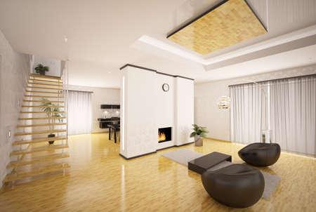 Interior design of modern apartment living room kitchen 3d render photo
