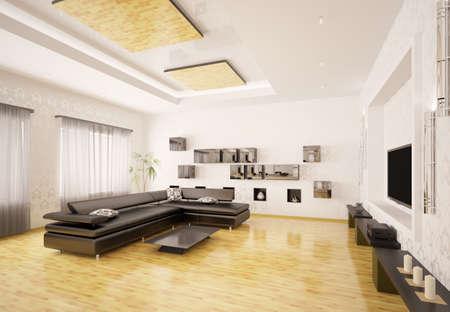 living room design: Home interior design of modern living room 3d render Stock Photo