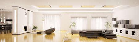 Interior design of modern apartment panorama 3d render Stock Photo - 9410134