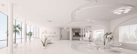 Modern interior design of white apartment panorama 3d render