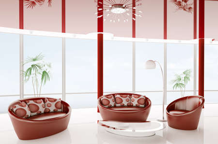 White red interior with two sofas and armchair 3d render Stock Photo - 9427688