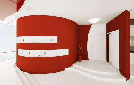 Modern interior design of red white entrance hall 3d render Stock Photo