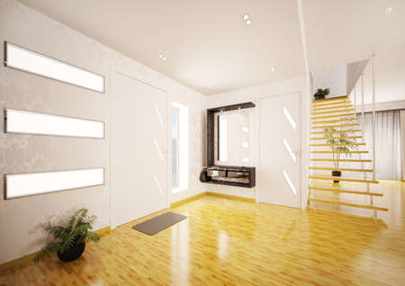 Modern interior design of entrance hall with staircase 3d render photo