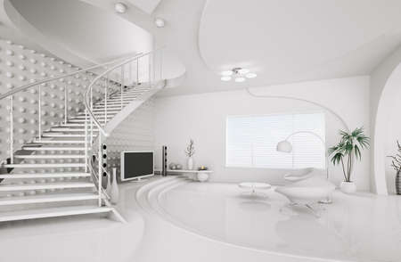 circle design: Modern interior design of white living room with staircase 3d render