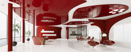 Modern interior of white red apartment panorama 3d render