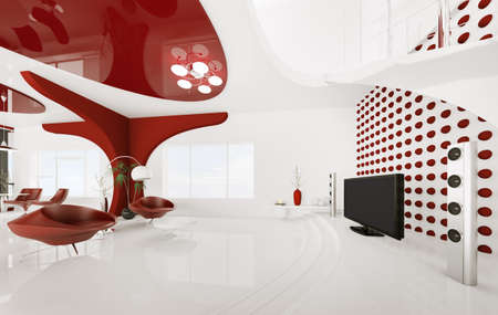 modern lamp: Modern interior of white red living room 3d render Stock Photo