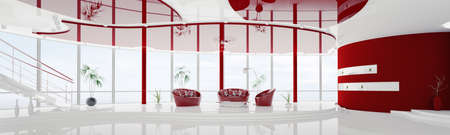 Interior of modern white red apartment with staircase panorama 3d render photo