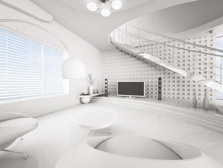 Modern interior of white living room with lcd 3d render