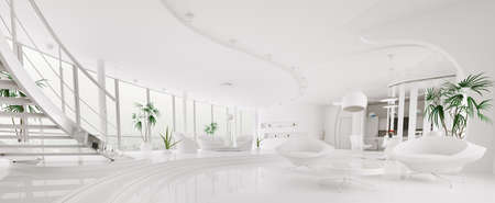 Interior of modern white apartment living room hall panorama 3d render photo