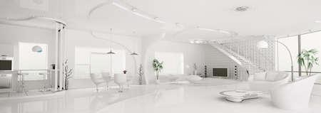 Int�rieur de la vie moderne appartement � manger cuisine salle blanche panorama rendu 3d Banque d'images
