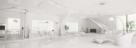 Interior of modern white apartment living dining room kitchen panorama 3d render photo