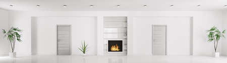 Modern white interior with doors and fireplace panorama 3d render photo