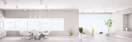 cuisine moderne: Design int�rieur moderne de rendu 3d de panorama appartement blanc