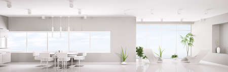 Modern interior design of white apartment panorama 3d render photo