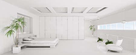 Intérieur de la Chambre blanche moderne panorama rendu 3d