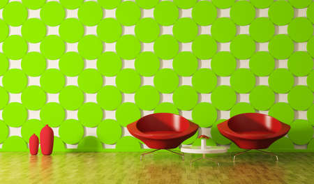 Modern interior of room with red armchairs 3d render photo