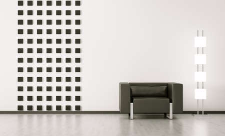 Modern interior of room with black armchair 3d render