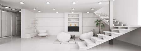 Int�rieur moderne de rendu 3d de panorama appartement blanc Banque d'images