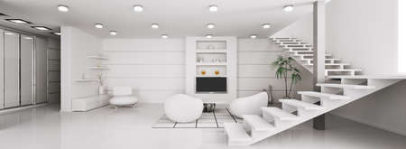Modern interior of white apartment panorama 3d render photo