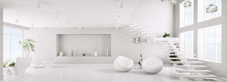 Int�rieur blanc de la vie en appartement chambre moderne Panorama 3D rendent Banque d'images