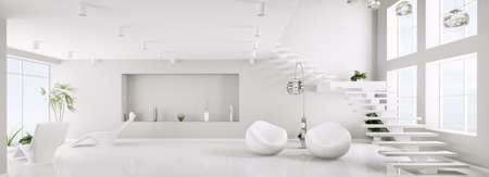 White interior of modern apartment living room panorama 3d render