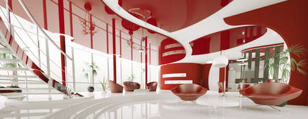 Modern interior of white red apartment panorama 3d render photo