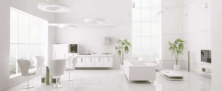 Interior of modern white apartment living room kitchen 3d render photo